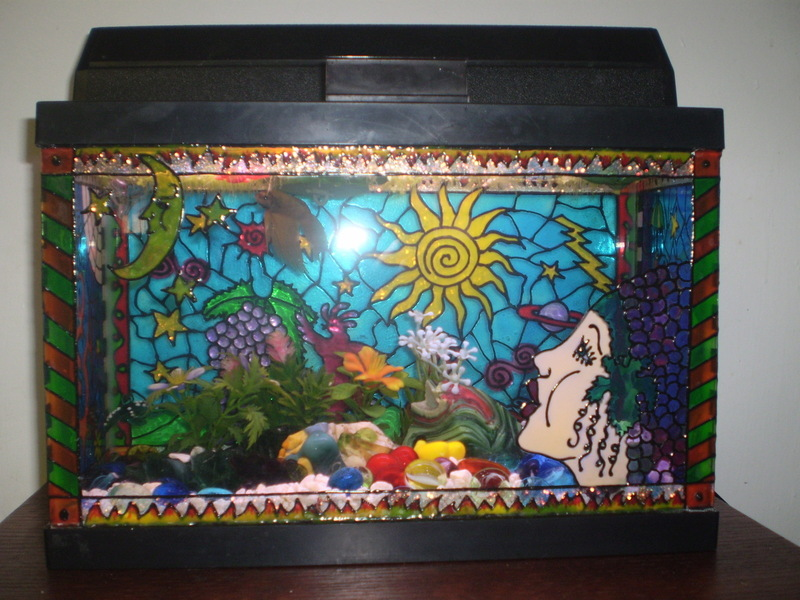 Diy painted aquarium decor for Aquarium decoration paint